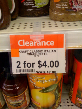 Kraft Classic Italian Vinaigrette. 2 for $4. Was $2.08 each
